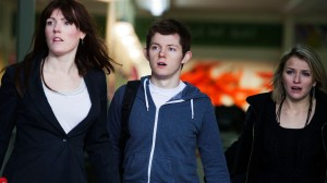 Kate (left) as Nicole in Horizon, with Simon Pearce as Dan and Alicia Ancel as Chloe.